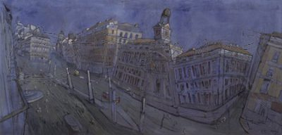 Puerta del Sol. Comunidad de Madrid collection. 2004.  Oil and charola on cloth mounted on wood. 76×161 cm