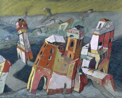 La fortaleza roja. 2004. Oil and charola on cloth mounted on wood. 83×103 cm