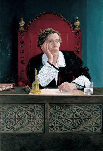 Manuela Carmena (judge). Private collection. 1993. Oil on cloth. 110×76 cm