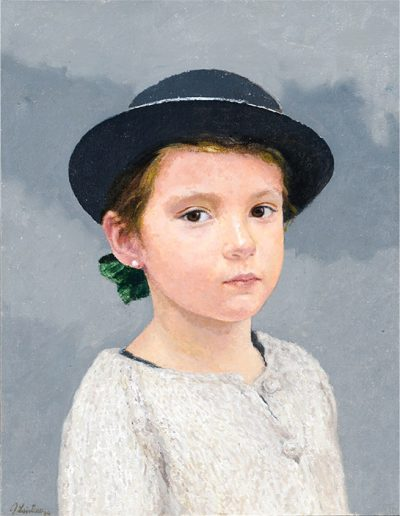 Niña con sombrero. Private collection. 2013. Oil on cloth. 38×30 cm